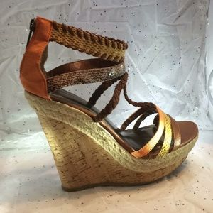 BamBoo multicolor wedge heels sandals size 71/2